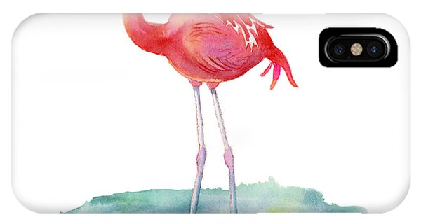 Bird Watercolor iPhone Case - Flamingo Pose by Amy Kirkpatrick