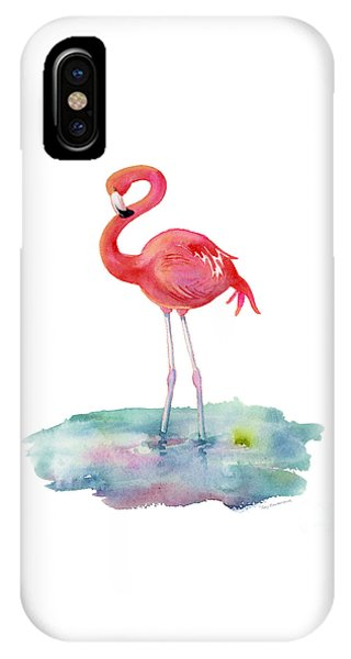Pink iPhone Case - Flamingo Pose by Amy Kirkpatrick