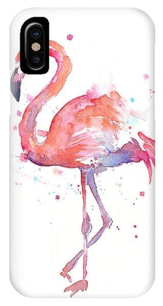 iPhone X Case - Flamingo Watercolor by Olga Shvartsur