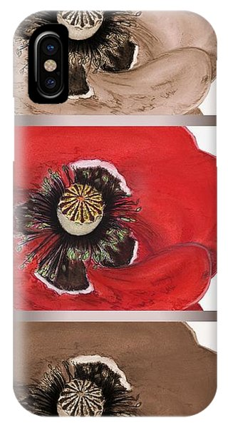 Close Up Floral iPhone Case - Flanders Poppy Triptych by J McCombie