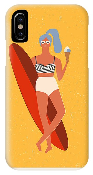 Surfboard iPhone Case - Flat Illustration With Surfer Girl With by Tasiania