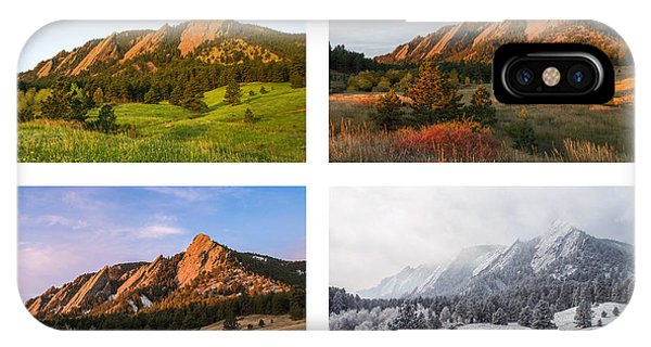 Flatirons Four Seasons With Border IPhone Case