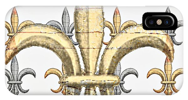 Fleur De Lys Silver And Gold IPhone Case