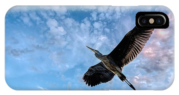 Skyscape iPhone Case - Flight Of The Heron by Bob Orsillo