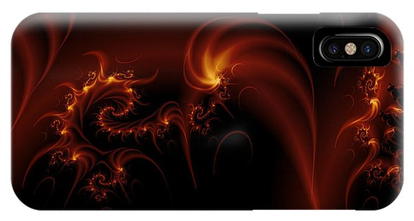 IPhone Case featuring the digital art Floating Fire Fractal by Fran Riley