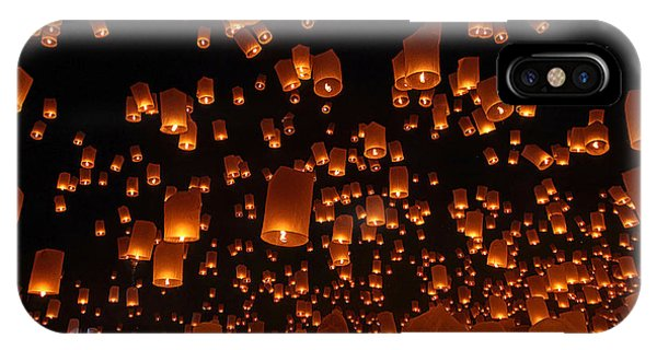 Ceremony iPhone Case - Floating Lanterns by Vichaya