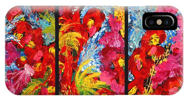 Floral Abstract Triptych On Black Background IPhone Case
