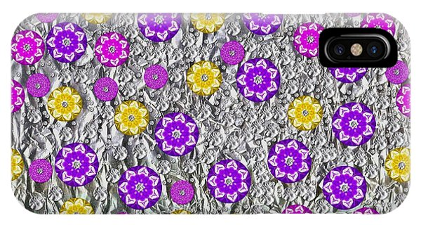 Sacred iPhone Case - Floral Fantasy And Silver  by Pepita Selles