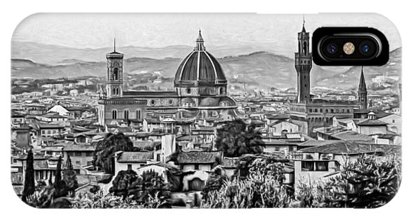 Florence Panorama - Paint Bw IPhone Case