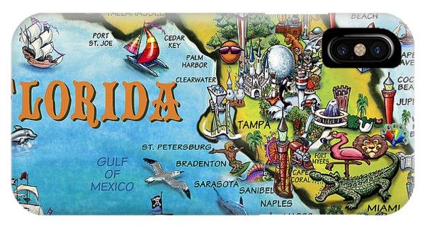 Florida Cartoon Map IPhone Case