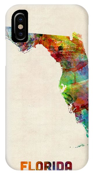 Miami iPhone Case - Florida Watercolor Map by Michael Tompsett