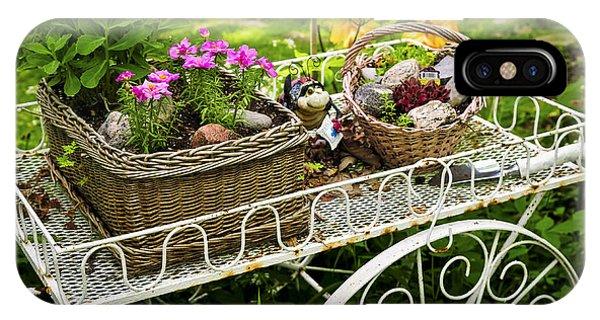 Flower Gardens iPhone Case - Flower Cart In Garden by Elena Elisseeva