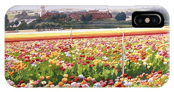 Windmill iPhone Case - Flower Fields In Carlsbad 1992 by Mary Helmreich