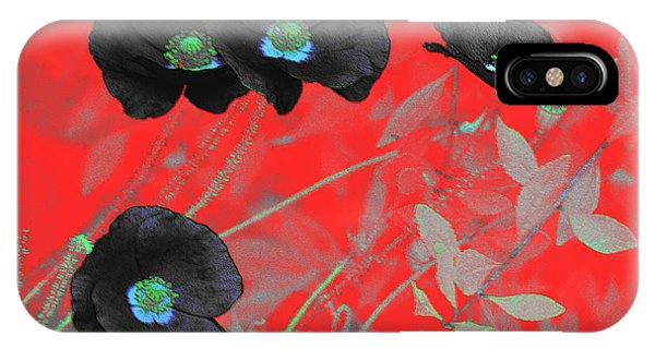 Flower Garden -  Four Black Poppies On Red IPhone Case