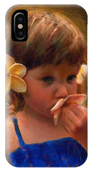 Flower Girl - Tropical Portrait With Plumeria Flowers IPhone Case