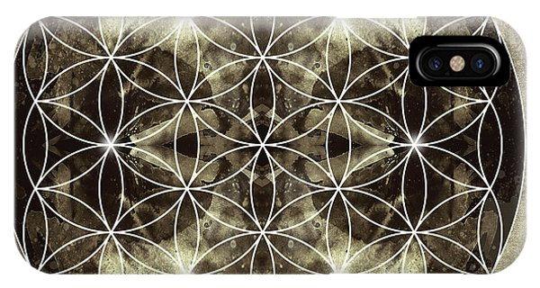 Buddhism iPhone Case - Flower Of Life Silver by Filippo B