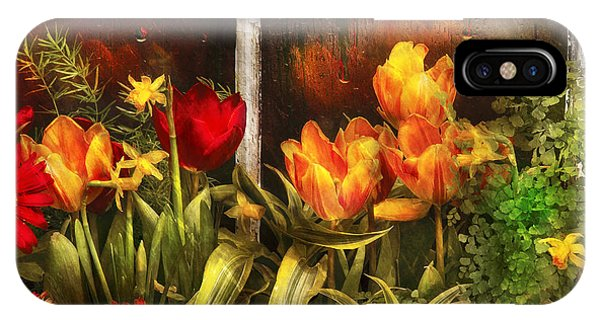 Garden iPhone X Case - Flower - Tulip - Tulips In A Window by Mike Savad