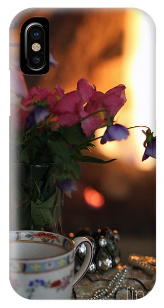 Flowers And Pearls Shabby Chic Wall Art IPhone Case