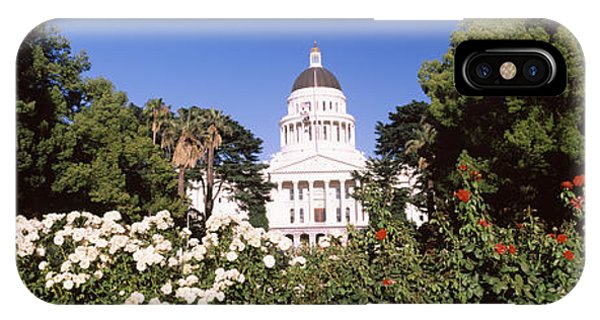 Capitol Building iPhone Case - Flowers And Trees In Garden by Panoramic Images