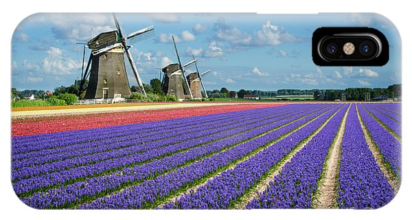 Landscape In Spring With Flowers And Windmills In Holland IPhone Case