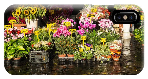 Flowers For Sale At Campo De Fiori - My Favourite Market In Rome Italy IPhone Case