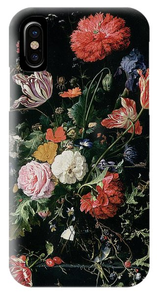 Grasshopper iPhone Case - Flowers In A Glass Vase, Circa 1660 by Jan Davidsz de Heem