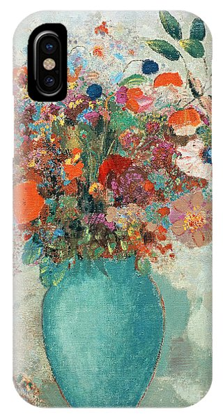 Elegant iPhone Case - Flowers In A Turquoise Vase by Odilon Redon