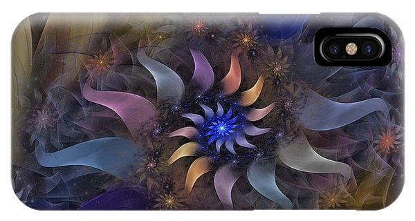 Fractal Landscape iPhone Case - Flowery Fractal Composition With Stardust by Karin Kuhlmann