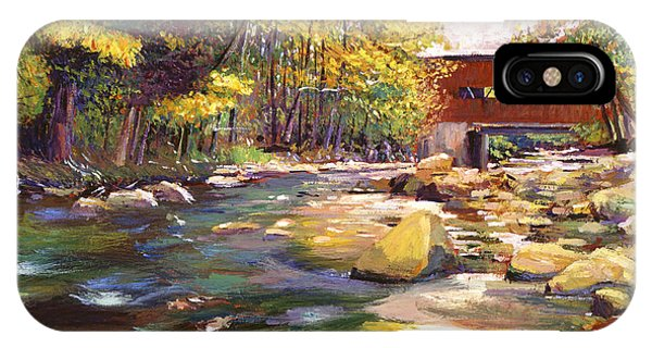 Covered Bridge iPhone Case - Flowing Water At Red Bridge by David Lloyd Glover