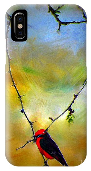 Fly Catcher In Heart Shaped Branch IPhone Case
