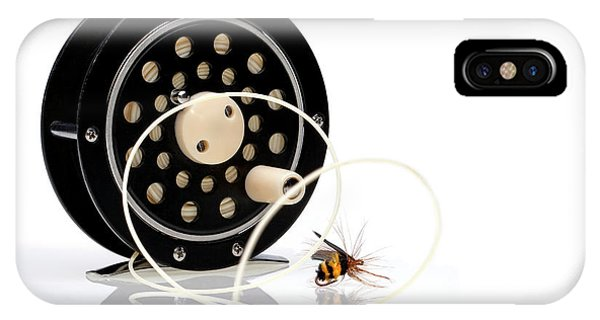 Bee iPhone Case - Fly Fishing Reel With Fly by Tom Mc Nemar