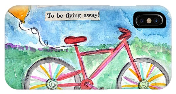 Cycling iPhone Case - Flying Away- Bicycle And Balloon Painting by Linda Woods