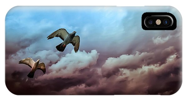 Pigeon iPhone Case - Flying Before The Storm by Bob Orsillo