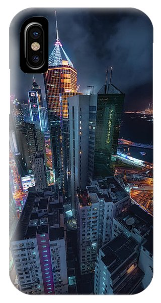 Night iPhone Case - Flying Hong Kong by Javier De La