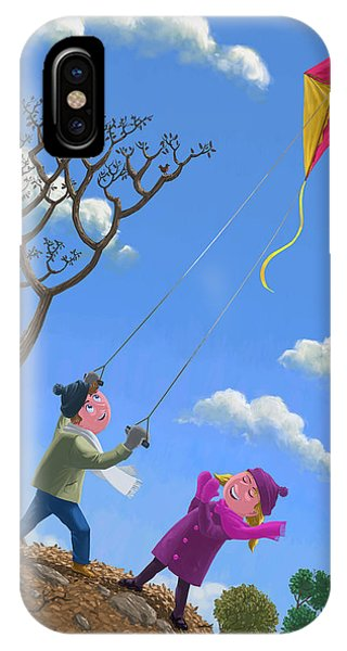 Flying Kite On Windy Day IPhone Case