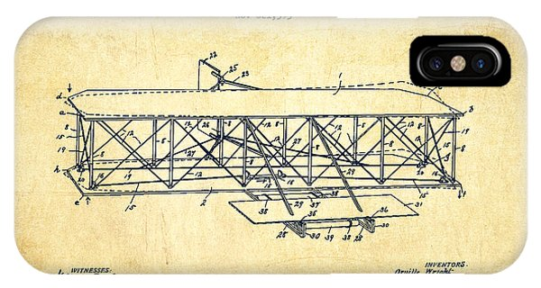Airplane iPhone Case - Flying Machine Patent Drawing From 1906 - Vintage by Aged Pixel
