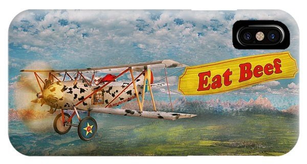 Strange iPhone Case - Flying Pigs - Plane - Eat Beef by Mike Savad