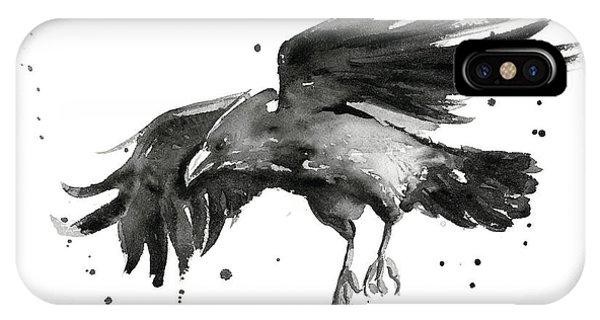 Bird Watercolor iPhone Case - Flying Raven Watercolor by Olga Shvartsur