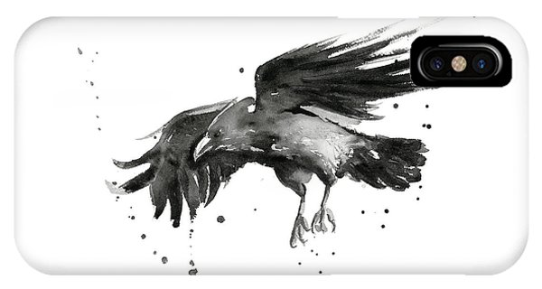 Bird iPhone Case - Flying Raven Watercolor by Olga Shvartsur