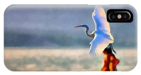 Flying White Egret IPhone Case