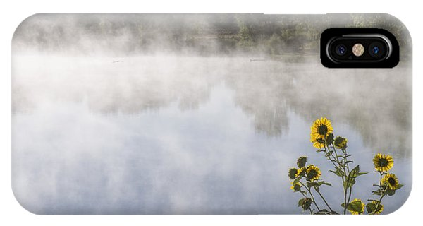 IPhone Case featuring the photograph Fog And Sunflowers by Rob Graham