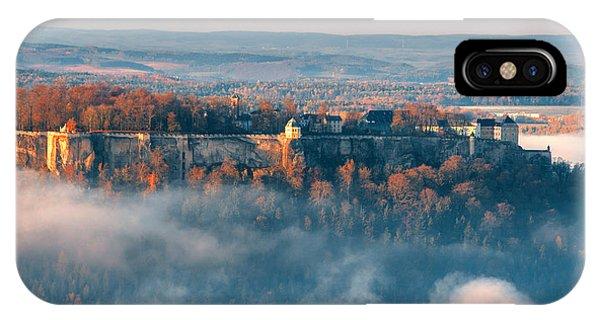 Fog Around The Fortress Koenigstein IPhone Case