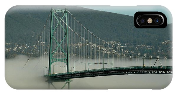 Fog Engulfing The Lion's Gate Bridge IPhone Case