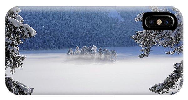 Fir Trees iPhone Case - Fog Over Frozen Lake by Norbert Maier
