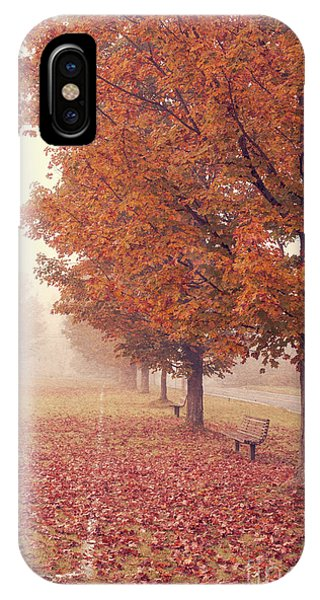 Road iPhone Case - Foggy Autumn Morning Etna New Hampshire by Edward Fielding