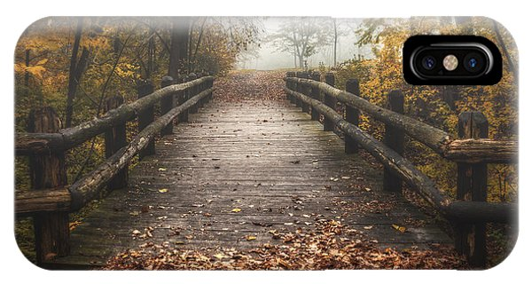 Beams iPhone Case - Foggy Lake Park Footbridge by Scott Norris