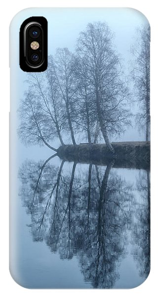 Birch Tree iPhone Case - Foggy River Day by Monica Amberger
