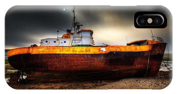 Foggy Sun Over Beached Fishing Boat In Rampside Uk IPhone Case
