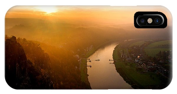 Foggy Sunrise At The Elbe IPhone Case