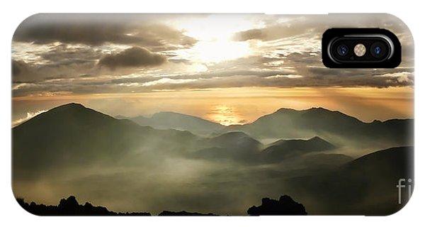 Foggy Sunrise Over Haleakala Crater On Maui Island In Hawaii IPhone Case